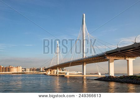 poster of Western high-speed diameter and cable-stayed bridge across the Petrovsky fairway, St. Petersburg, Russia