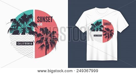 Sunset Blvd California T-shirt And Apparel Trendy Design With Palm Trees Silhouettes, Typography, Pr