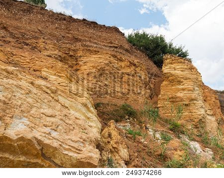 Mountain Landslide Disaster In Sesmically Dangerous Area. Large Cracks In Earth, Descent Of Large La