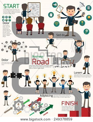 Business Roadmap With Workstation Infographics. Business People Show Activities On Roadmap. Cartoon