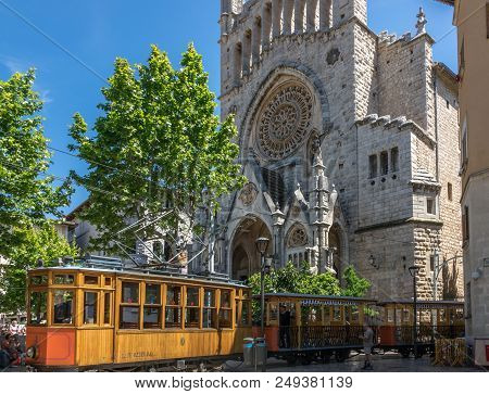 Soller, Spain - May 4, 2017: Historic Train In Soller Tram Of The Soller Tramway Line Driving In A S