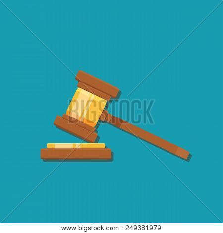 Gavel Judge Isolated On A Colored Background. Wooden Gavel Law Concept. Flat Cartoon Style. Stock Fl