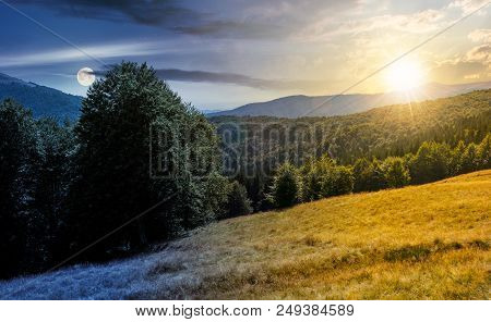 Meadow On The Forested Hill In Summer Mountain Landscape. Day And Might Time Change Concept. Beautif