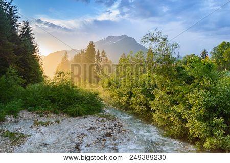 Mountain Stream At Sunset. River In Alps Near Ehrwald, Tyrol, Austria