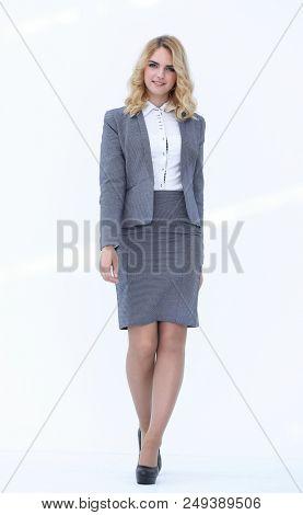 modern business woman stepping forward.