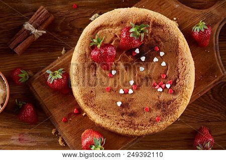 Delicious Cake With Fresh Organic Strawberries And Mint, Top View, Close-up, Selctive Focus. Sweet H