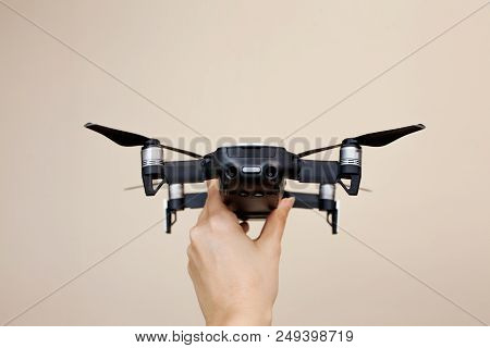 Launching The Drone From Hands. Use The Drone. Modern Small Copter With Camera In User Hand, Photo O