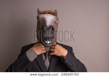 Unidentified Person With A Dark Grey Suit And Tie Wearing A Horse Mask Adjusting The Tie