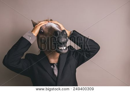 Unidentified Person With A Dark Grey Suit And Tie Wearing A Horse Mask With Both Hands On The Head