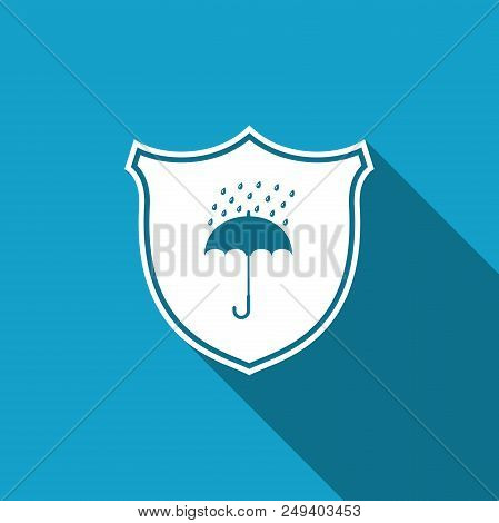 Waterproof Icon Isolated With Long Shadow. Shield And Umbrella. Water Protection Sign. Water Resista