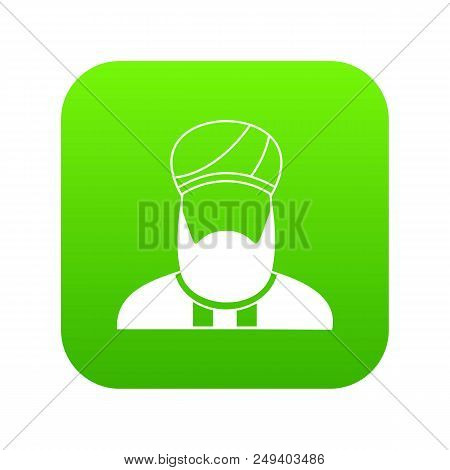 Muslim Preacher Icon Digital Green For Any Design Isolated On White Vector Illustration