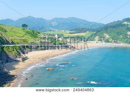 Cantabrian Sea Green Coast With Deba Town, Pais Vasco Spain