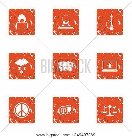 Slackness Icons Set. Grunge Set Of 9 Slackness Vector Icons For Web Isolated On White Background