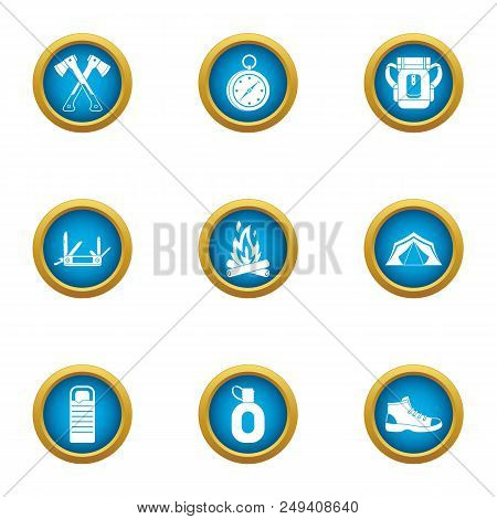 Risky Hike Icons Set. Flat Set Of 9 Risky Hike Vector Icons For Web Isolated On White Background