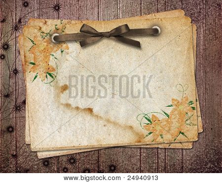 Framework For A Photo Or Congratulation. Grange Wooden Background.