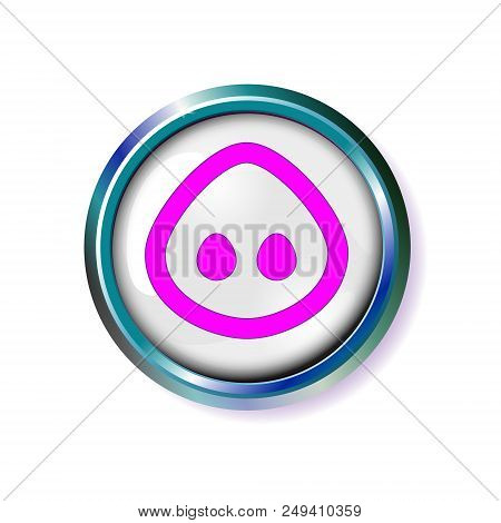 Button Pig Squeal. Pig Muzzle, Snout Nose Vector