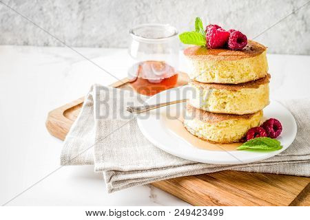 Trendy Asian Food, Fluffy Japan Souffle Pancakes, Hotcakes With Maple Syrup And Raspberry Light Conc
