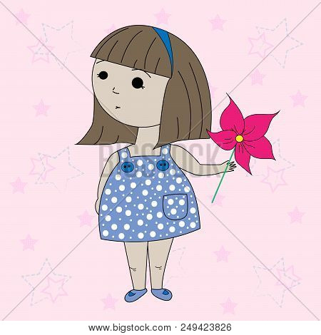 Vector Clipart Cartoon Little Girl. T-shirt Graphics For Kids. Cover Templates For Notepad.