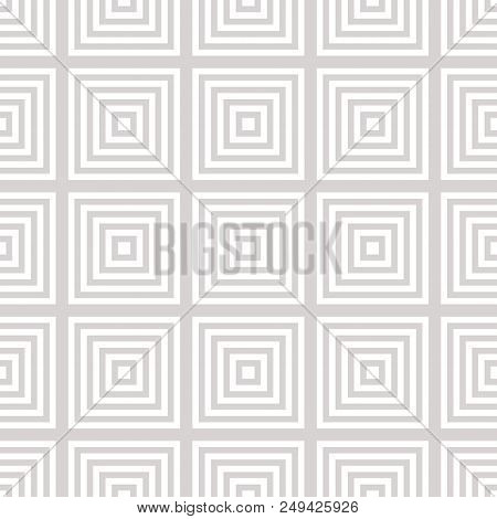 Vector Geometric Squares Seamless Pattern. Subtle Abstract White And Beige Graphic Ornament With Lin