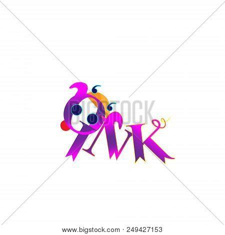 The Inscription Oink, Lettering Vector Design Elements. Cute Pig, Illustration Cheerful. Funny Pig V