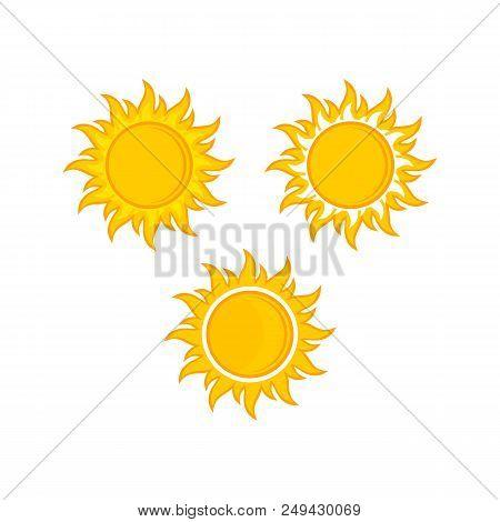 3 Sun Vector Isolated Summer Icon Design. Vector Yellow Sun Symbol. Vector Sun Sun Element. Sun Weat