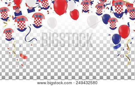 Croatian Balloons With Countries Flags Of National Croatian Flags Team Group And Ribbons Flag Ribbon