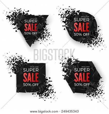 Big Sale Banner. Explode Geometric Shapes Banners. Special Offer Banner. Sale Banner Templates. Abst