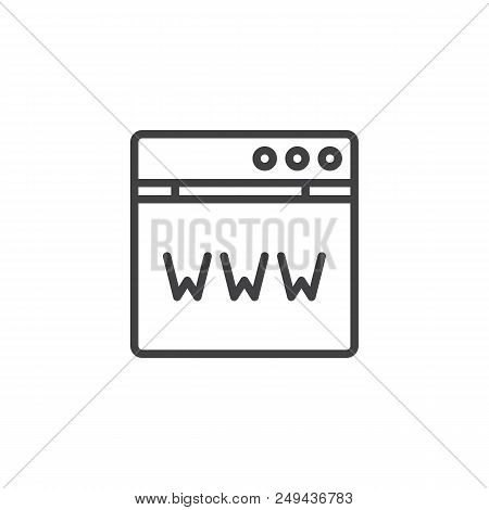 Domain Registration Outline Icon. Linear Style Sign For Mobile Concept And Web Design. Www Browser S