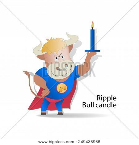 Ripple. Bull And Bull Candle. Cryptography, Illustration Of Financial Technologies, Strategy Of The