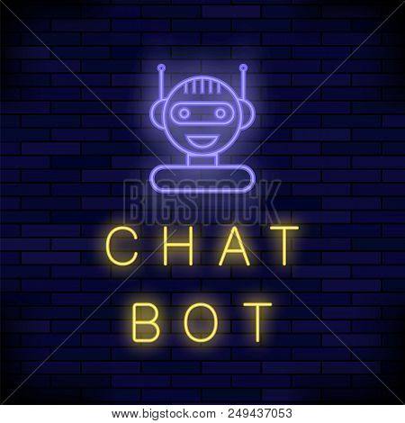 Neon Chat Bot On Blue Brick Background. Artificial Intelligence Concept Of Ui. Cute Smiling Chatbot
