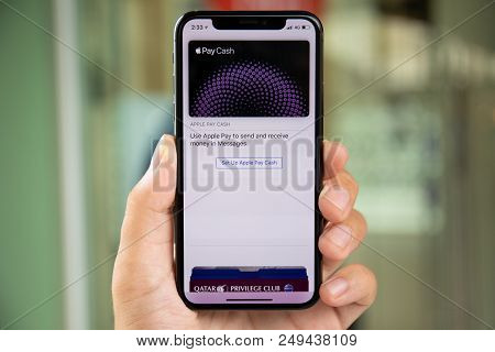 Koh Samui, Thailand - April 9, 2018: Man Hand Holding Iphone X With Apple Pay Cash On The Screen. Ip
