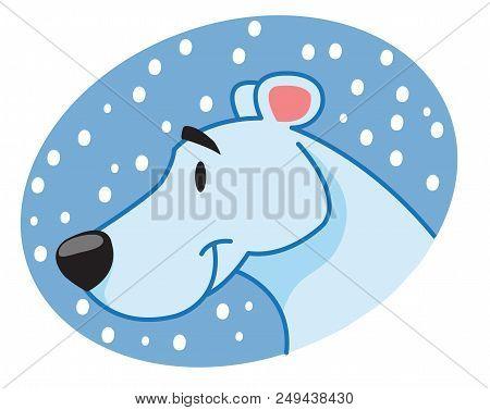Polar Bear Muzzle, Animal, New Year, Winter, Character, Bear Head. Vector Illustration Isolated On W