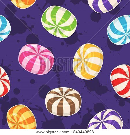 Candies Seamless Pattern. Vector Background With Colored Hard Sugar Candies On Grunge Background