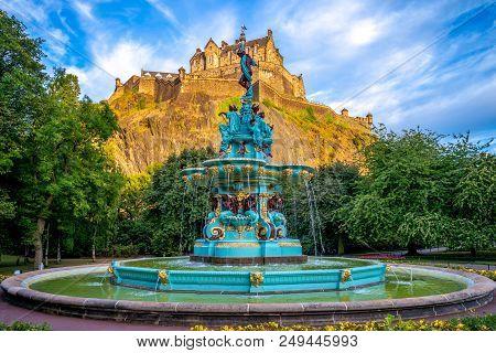Edinburgh Castle And Ross Fountain In Edinburgh, Scotland