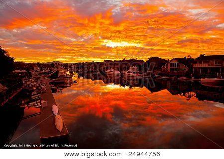 Huntington Harbour at Dawn