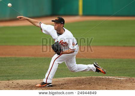 MESA, AZ - NOVEMBER 4: Mesa Solar Sox pitcher Steve Johnson pitches in a game against the Salt River Rafters at Hohokam Park on November 4, 2011 in Mesa, AZ.