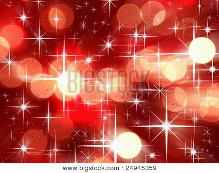 Bright Star And Red Tone Bokeh For Christmas Background