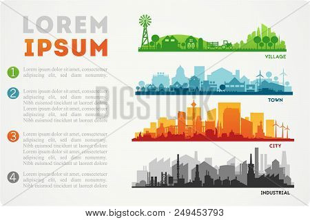 Abstract Stylish Cityscape Infographics. Infographics Elements Collection With Town, City, Farm And
