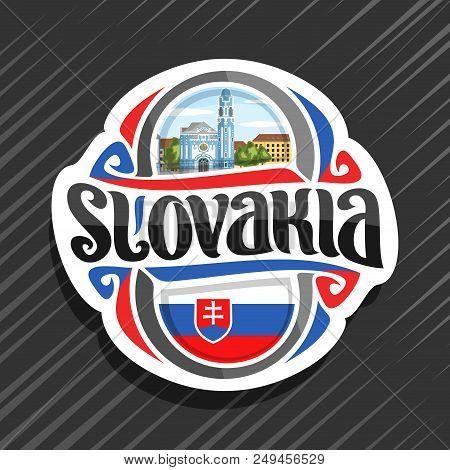 Vector Logo For Slovakia Country, Fridge Magnet With Slovakian Flag, Brush Typeface For Word Slovaki