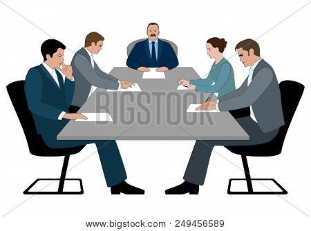 Business Meeting And Business Conference Concept. Boss And Staff Discussing Something Sitting At Tab