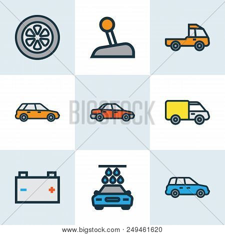 Car Icons Colored Line Set With Carwash, Crossover, Prime-mover And Other Level  Elements. Isolated