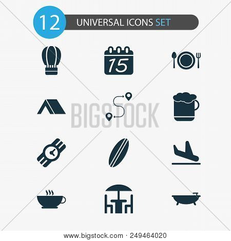 Trip Icons Set With Beer, Route, Coffee And Other Cafe Elements. Isolated  Illustration Trip Icons.