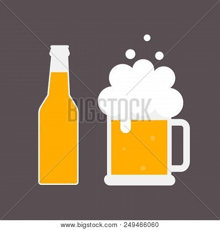 Beer Bottle And Mug Of Beer. Beer Icon. Mock Up Glass Beer. Symbol Template Logo. Isolated Vector Il