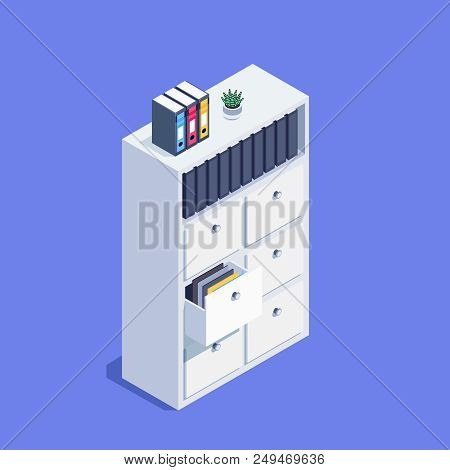 Isometric Archive Cabinet. 3d File Storage With Folders. Office Furniture. Vector Illustration.