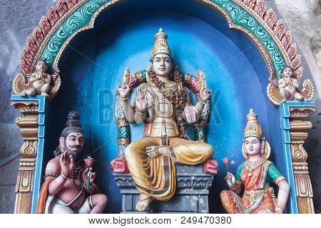 Traditional Statues Of Hindu God In Batu Cave, Kuala Lumpur, Malaysia