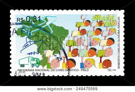 Brazil - Circa 2000 : Cancelled Postage Stamp Printed By Brazil, That Promotes National Textbook Pro