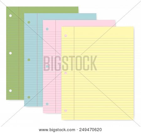 Hole Punched Colored Filler Paper For 3 Ring Binder, Vector Template. Lined Writing Pads With Margin