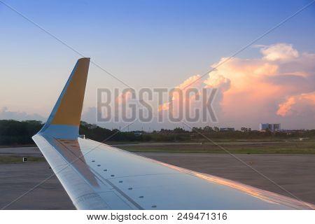 Airplane Ready To Take Off At Bangkok , Thailand
