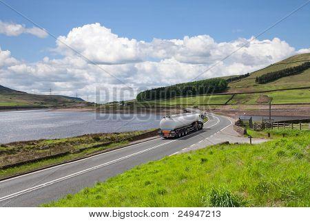 Fuel tanker a long the road