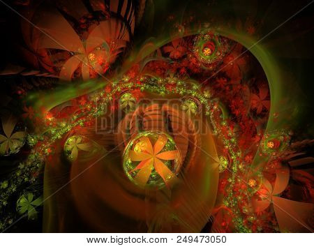 Glow Abstract Fractal Flower Background. Translucent Bubbles Texture With Glow Flowers. Bright, Mult
